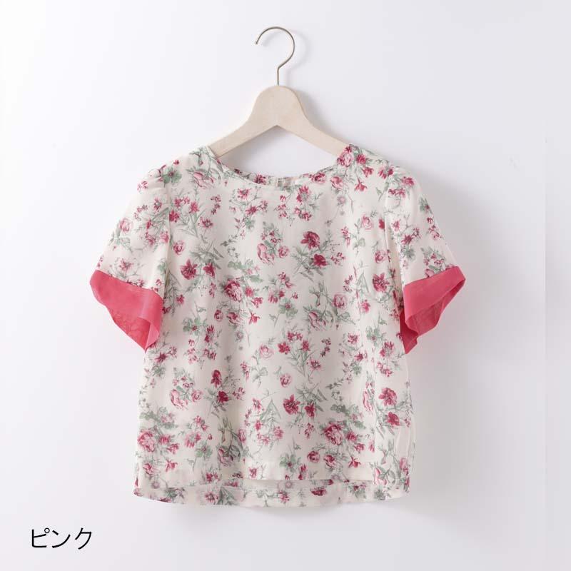 花柄プリント袖口リボンブラウス【SS SALE】