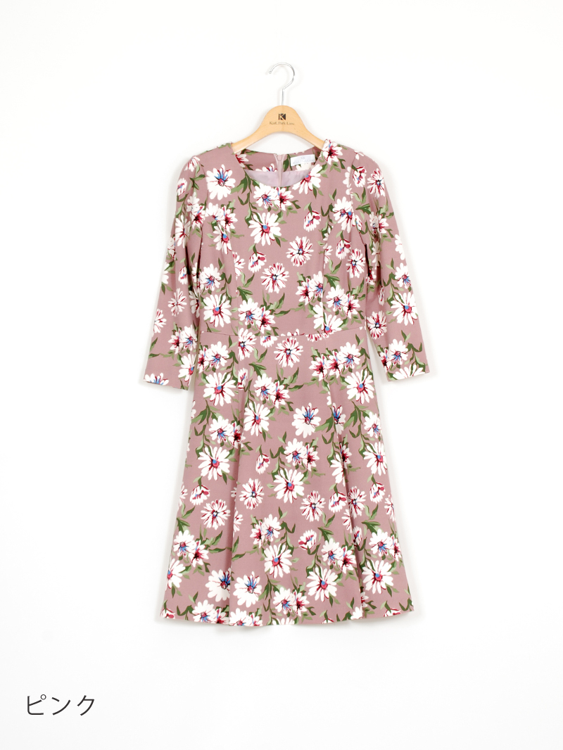 【60%OFF】ニットプリントフレアーアンピース【AW SALE】