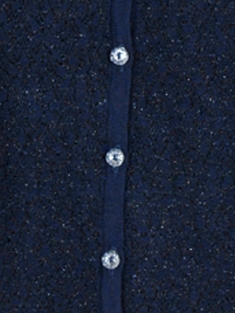 ラメ花柄ジャガード丸首カーデ【SS SALE】