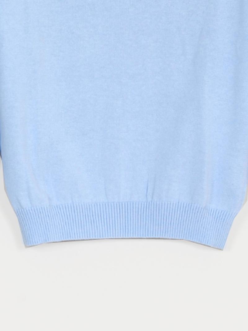 肩リボン胸元・七分袖柄編ニット【SS SALE】