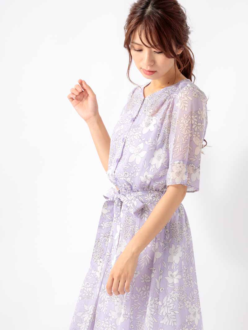 【50%OFF】5分袖単色プリント�あきワンピース【SS SALE】