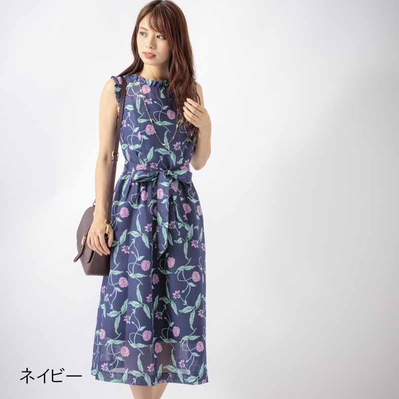 【50%OFF】花柄シースルーフリル付ワンピース【SS SALE】