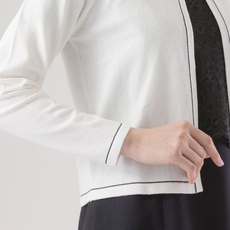 【80%OFF】配色丸首ニットジャケット【アウトレット】