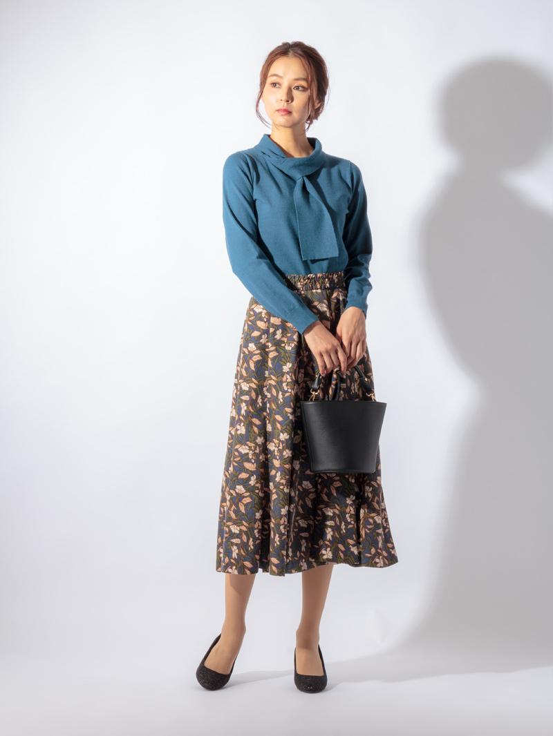 【30%OFF】花柄プリントハギフレアースカート