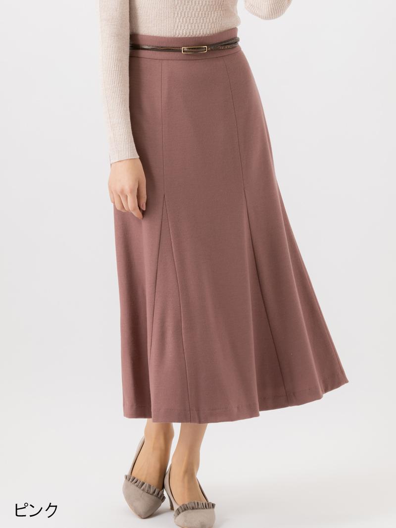 再値下げ【30%OFF】ミドルスムースマチ付きフレアースカート