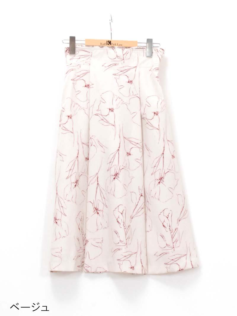 【30%OFF】花柄プリントタックフレア-スカート