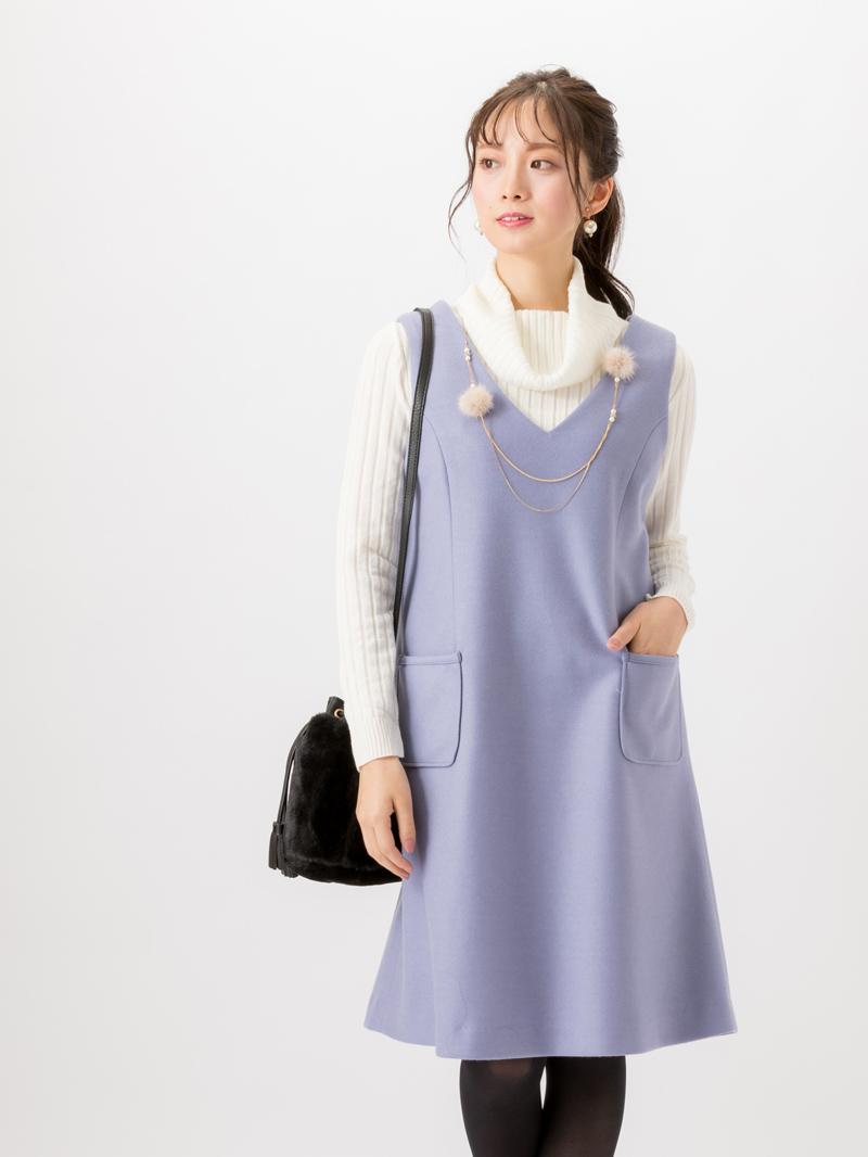 【50%OFF】衿透かし柄タートルネックニット