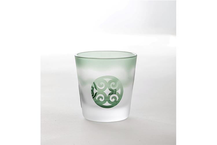 ◆送料無料◆【アイヌ文様彫刻硝子】sinot-ロックグラス モスグリーン