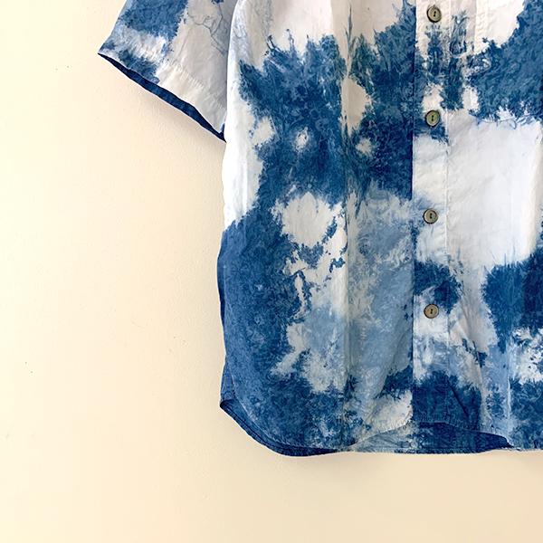 ティグルブロカンテ インディゴ ライトタイダイ バンドカラー オープンシャツ unisex