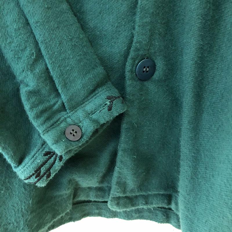 ティグルブロカンテ Planta 刺繍 ラグランシャツ ジャケットunisex Moss Green
