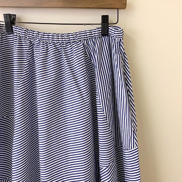 ティグルブロカンテ ロンドンストライプ フレア ランダム パッチスカート