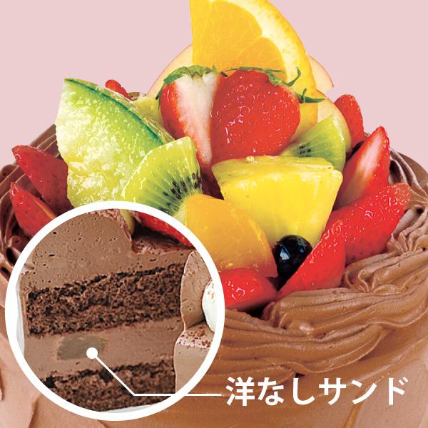 【BD】フルーツデコレーション 生チョコクリーム (約21cm)