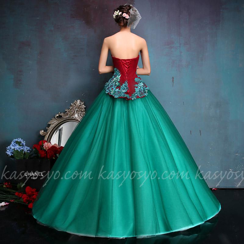 P2318016578 グラフィカルなグリーン&ワインカラードレス ふんわりタイプ
