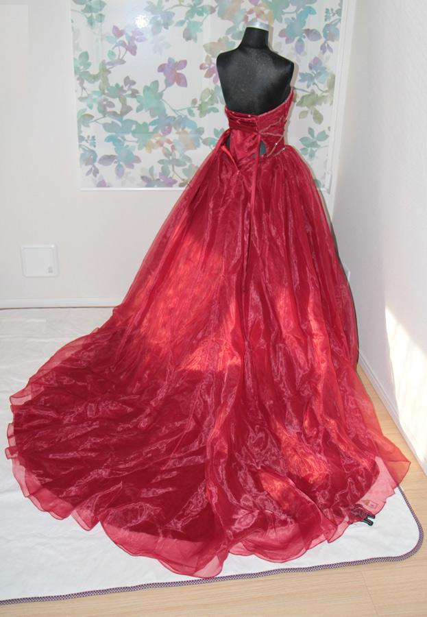 ワインレッド カラードレス ふんわりタイプ 7号サイズ 編み上げ5号〜7号対応