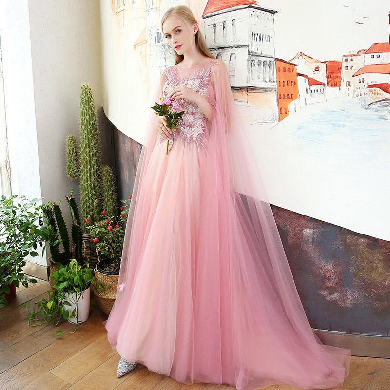 透明感あふれるピンクパーティードレス ステージ衣装としても人気のデザインP03291875