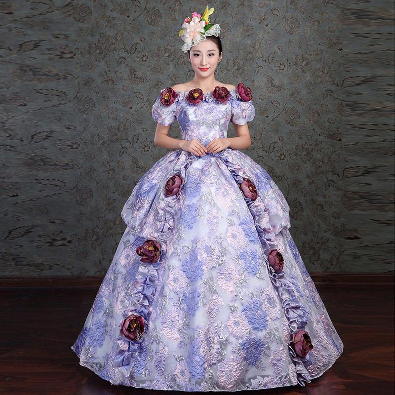 SL2009 華やかでかわいい パープル カラードレス 発表会 舞台衣装 中世ドレス 紫色