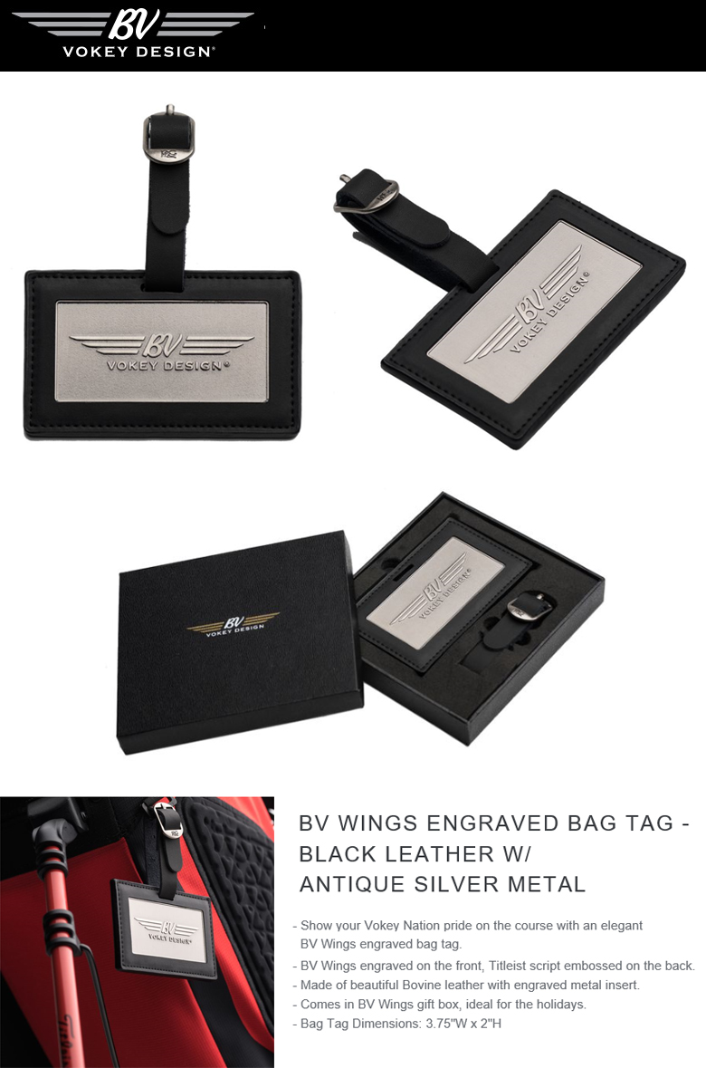 Titleist BV Wings Engraved Bag Tag - Black Leather w/ Antique Silver Metal BVウイングス エングレイブド バッグタグ