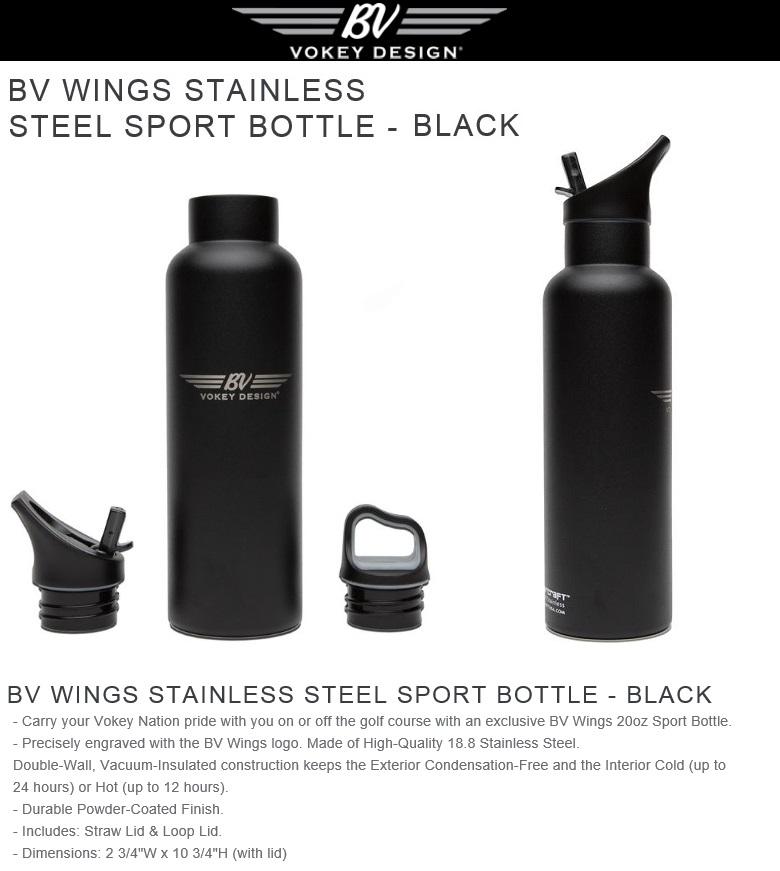 Titleist Vokey Wings Stainless Steel Sport Bottle-Black タイトリスト ボーケイ ウィングス ステンレス スチール ボトル