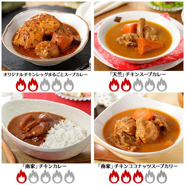 北海道スープカレー4食セット(北国チキンレッグ/南家/天竺/ココナッツ)業務用 送料無料