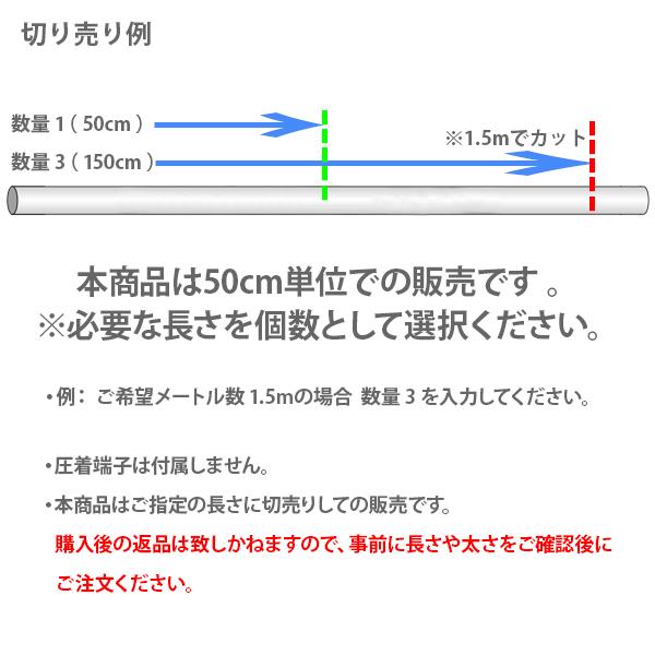 KIV 14SQ 接続用 ケーブル 赤/黒 2本セット 0.5m切売り 電気配電線バッテリーケーブルなどに