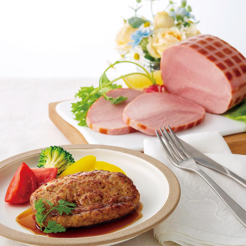 04−01<高源精麦>カワトクオリジナル白金豚ハンバーグ・ももハムセット