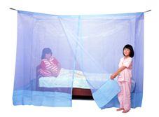 洗えるダブルベッド用蚊帳 ナイロン ブルー