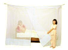 ベッド用 両麻蚊帳 白 シングル