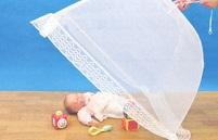 ベビー用蚊帳 (柄:うさぎ3匹)