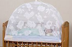 洗えるベビーベッド用蚊帳【折りたたみ】(柄:動物園)