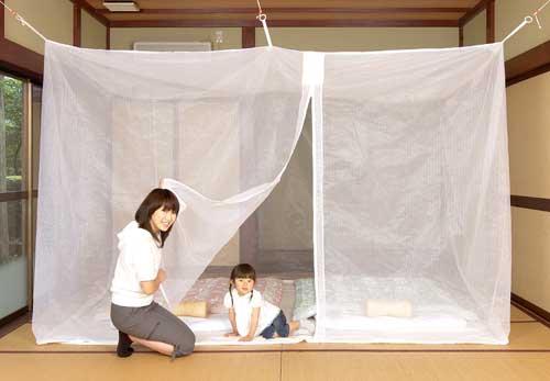 洗えるムカデ対策用大蚊帳 ポリエステル 白 3畳