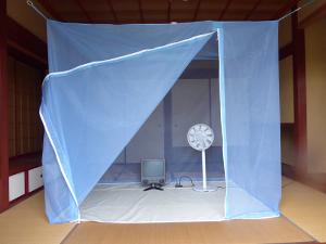 洗えるムカデ対策用大蚊帳 ポリエステル ブルー 6畳
