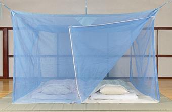 天然素材 ムカデ対策用大蚊帳 片麻 ブルー 3畳