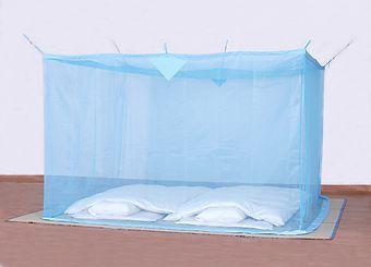 天然素材 綿大蚊帳 ブルー 4.5畳