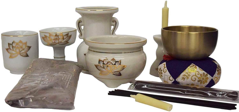 仏具セット陶器製白にハス模様 掛軸なしタイプ