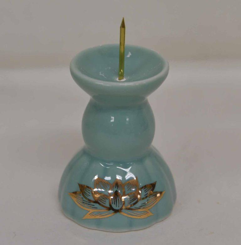 仏具セット陶器製 青磁にハス模様 掛軸なしタイプ