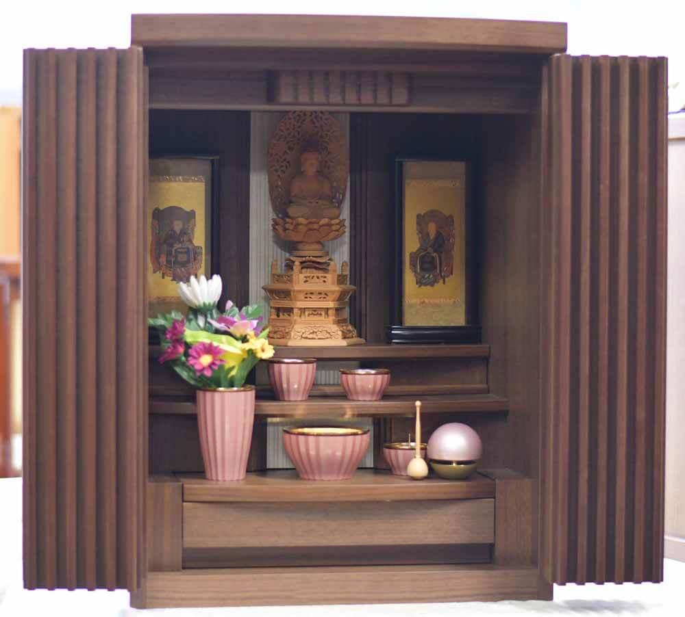 家具調仏壇 ダーク 御本尊 掛軸 仏具付 限定1