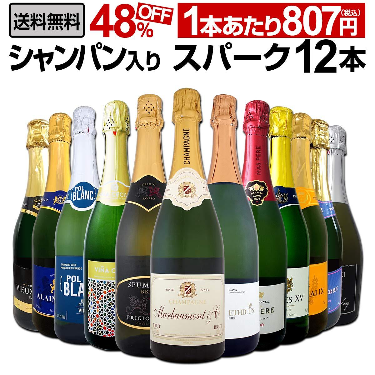 【送料無料】第10弾!シャンパン入り!辛口スパークリングワイン12本セット!