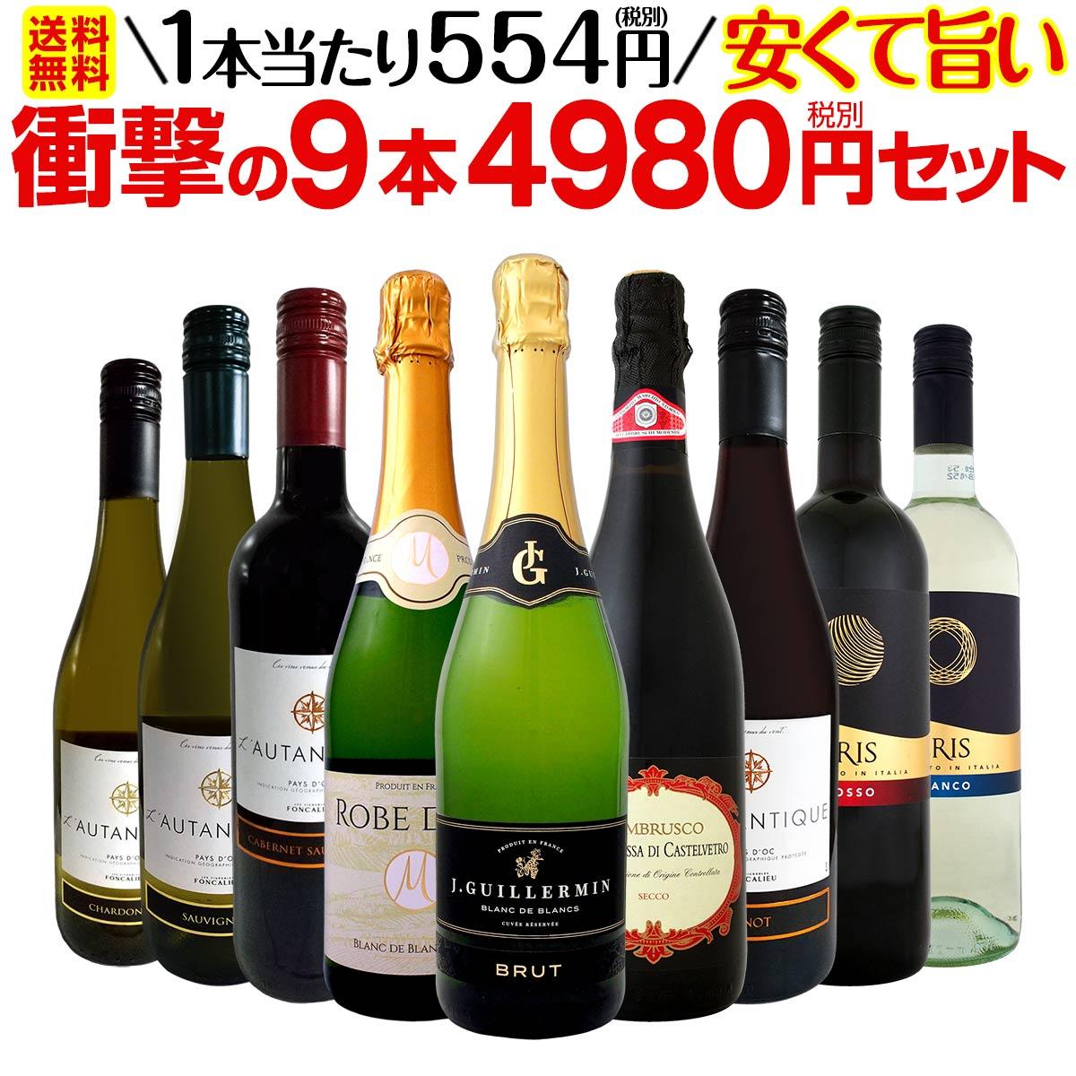 【送料無料】第9弾!当店最安級!1本あたり554円(税別)!限界ギリギリまでお買い求めやすくしました!安くて旨いワインばかりを詰め込んだ衝撃の9本4980円(税別)セット!