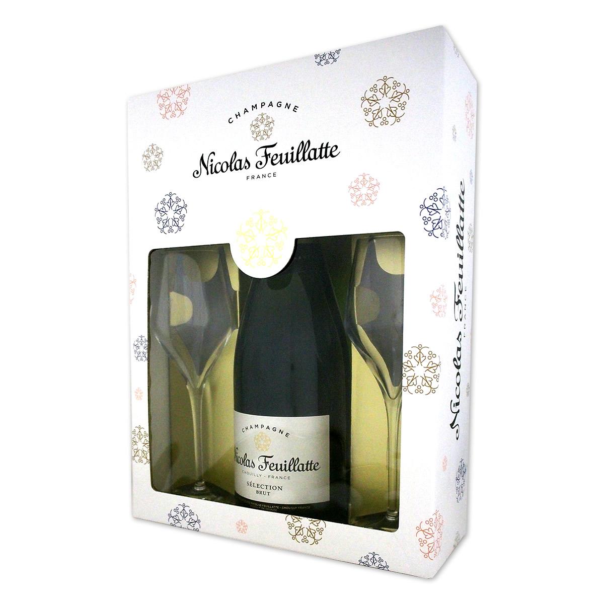ニコラ・フィアット・シャンパーニュ・ブリュット・ホワイトラベル・グラス2脚セット【シャンパン】【スパークリング】【750ml】【Nicolas Feuillatte】【ギフト】【グラスセット】【クリスマス】
