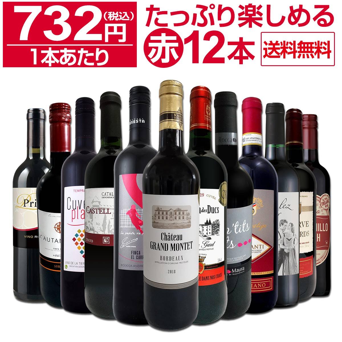 【送料無料】第18弾!1本あたり732円(税込)!!採算度外視の大感謝!厳選赤ワイン12本セット