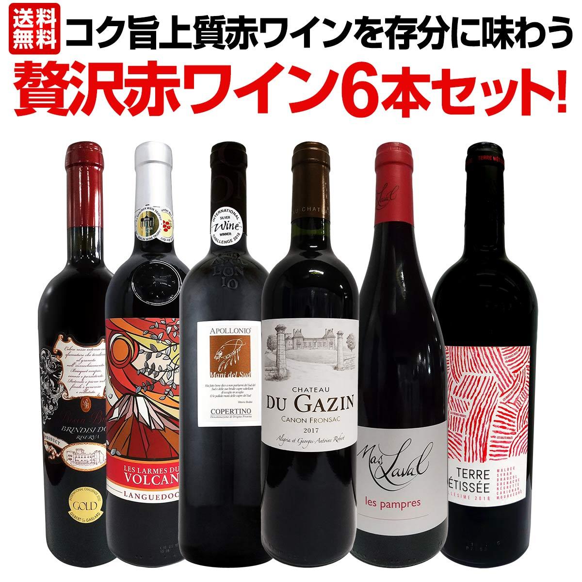 【送料無料】当店≪極≫厳選!赤ワイン好きならこのセット!格別の美味しさ!コク旨上質赤ワインを存分に味わう贅沢赤ワイン6本セット!