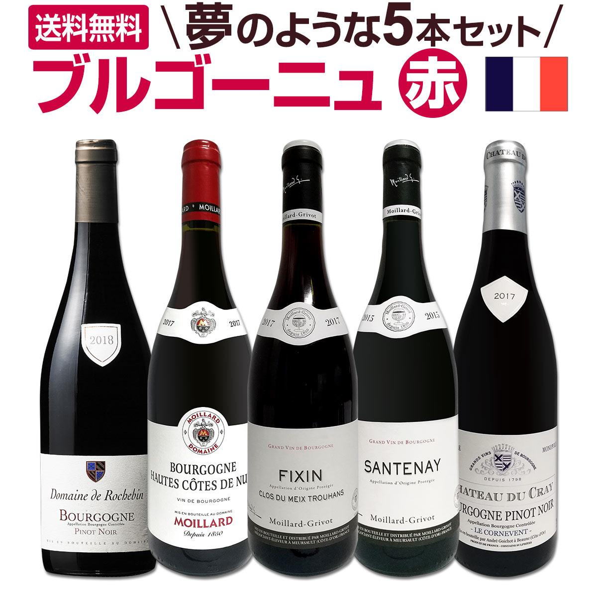 【送料無料】厳選ブルゴーニュ赤ワイン5本セット!