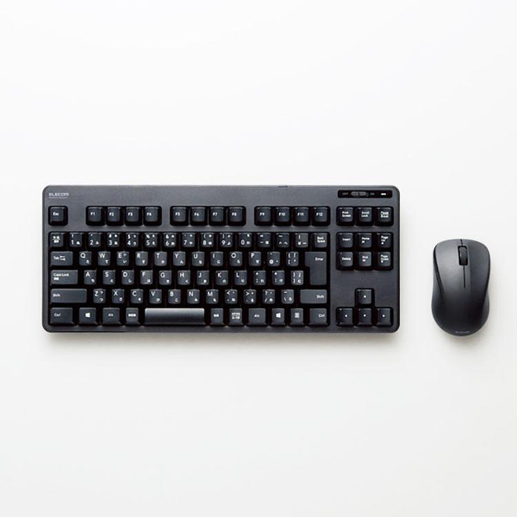 ELECOM ワイヤレス キーボード マウス セット USB 無線 テンキーレス メンブレン エレコム TK-FDM105MBK