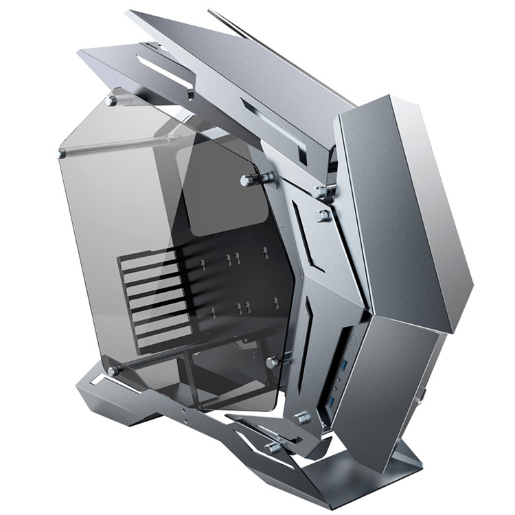 限定生産 JONSBO MOD3 MECHWARRIOR フルメタル オープンフレームPCケース E-ATX/ATX対応 アルミ合金 両面強化スモークガラス ARGB 水冷対応 開放型 グレー MOD-3-GR