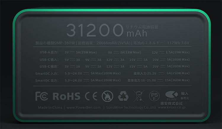 POWERBEN モバイルバッテリー 大容量31200mAh 急速充電 PD対応 100W USB Type-C TypeA 防災対策 SMP-360W