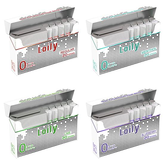 Lolly ローリー Pro スティック 4味セット ニコチン ゼロ タール ゼロ 電子タバコ 禁煙グッズ IQOS互換 加熱式 1箱 20本入 送料無料