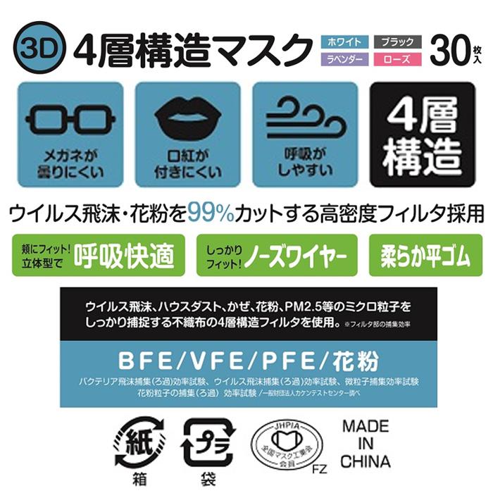 3D 4層構造マスク30枚入 【全国マスク工業会マーク付】※ラベンダー、ローズ欠品中(9月末入荷予定)