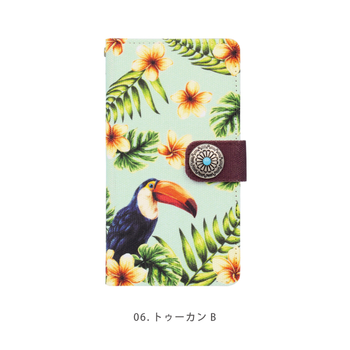 キャンバス生地 ボタニカルデザイン 多機種対応 手帳型ケース