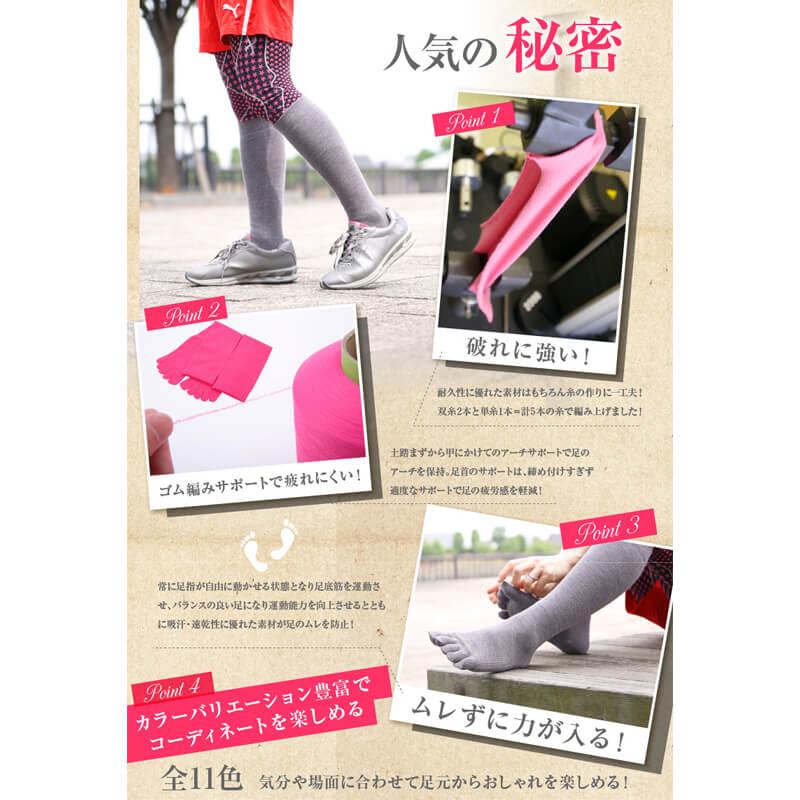 【2足セット 送料無料】すべり止め付 5本指 ハイソックス 靴下 レディース サイズ 21〜25cm カラー11色 / ケンビースポーツ 日本製