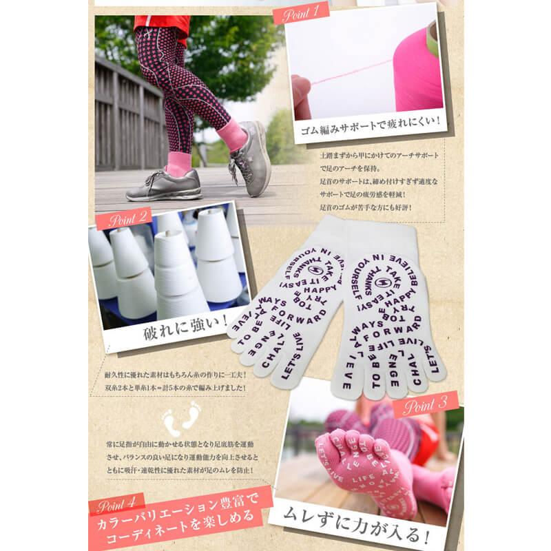 【2足セット 送料無料】すべり止め付 5本指 クルー丈 靴下 レディース サイズ 21〜25cm カラー11色 / ケンビースポーツ 日本製